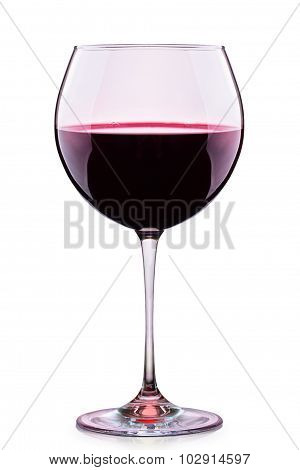 Glass of red wine isolated on a white