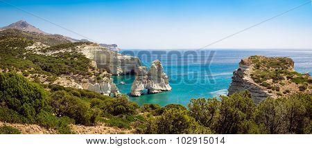 Panoramic Seascape View Of Kleftiko Rocky Coastline On Milos Island