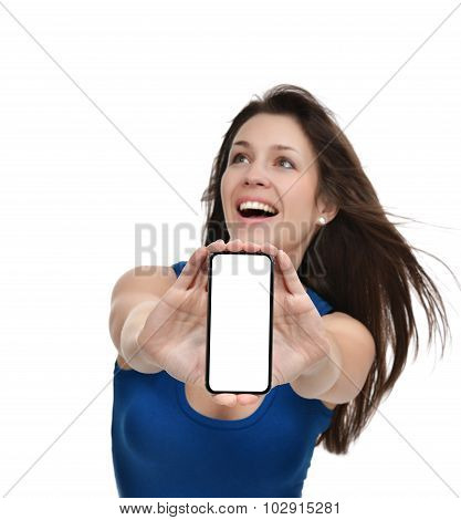 Young Woman Show Display Of Mobile Cell Phone With Blank Screen