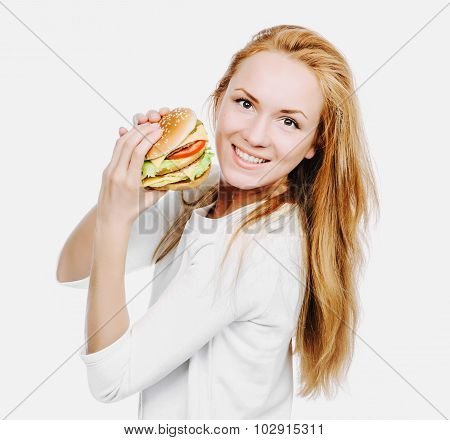 Tasty Unhealthy Burger Sandwich In Hands Hungry Woman Getting Ready To Ea