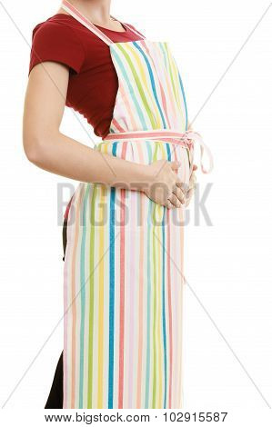 Housewife In Kitchen Apron Isolated