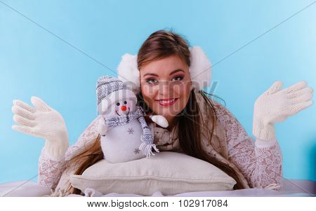Smiling Cute Woman With Little Snowman. Winter.