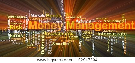 Background concept wordcloud illustration of money management glowing light