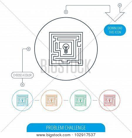 Labyrinth icon. Problem challenge sign.