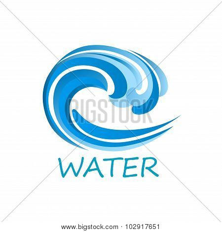 Blue ocean wave abstract icon