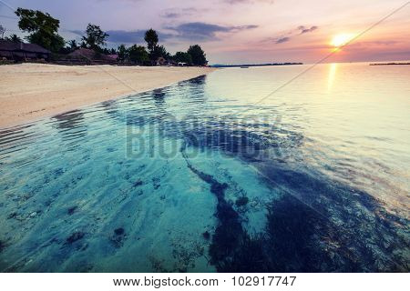Beach at sunset in Indonesia,Gili island