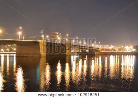 Volodarsky Bridge At Night.