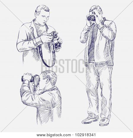 Photographer set - hand drawn vector llustration realistic sketch