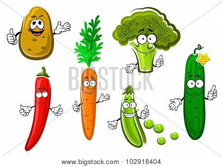 Cartoon fresh organic vegetable characters