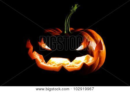 Glowing Halloween jack o' lantern