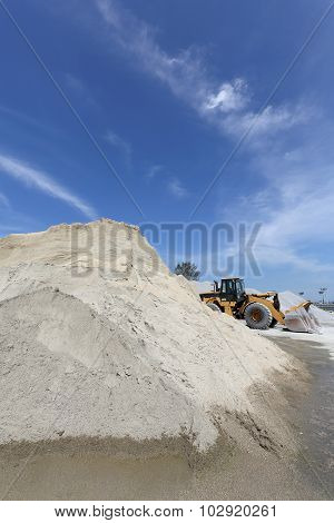 sand mound with bulldozer