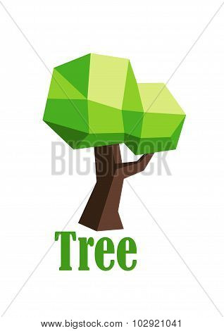 Green polygonal tree abstract icon