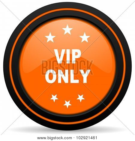 vip only orange glossy web icon on white background