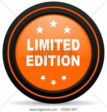 limited edition orange glossy web icon on white background