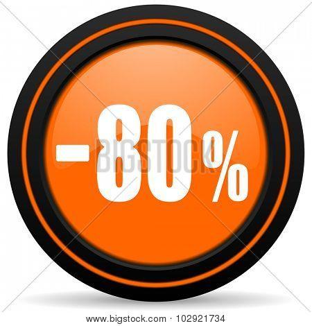 80 percent sale retail orange glossy web icon on white background