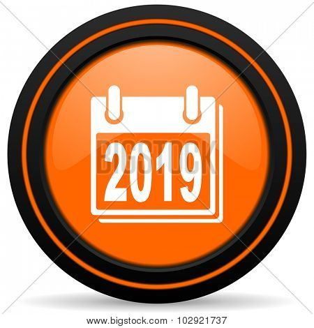 new year 2019 orange glossy web icon on white background