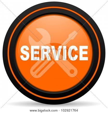 service orange glossy web icon on white background