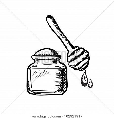 Honey jar with wooden dipper sketch