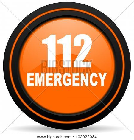 number emergency 112 orange glossy web icon on white background