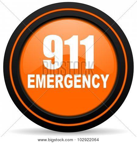 number emergency 911 orange glossy web icon on white background