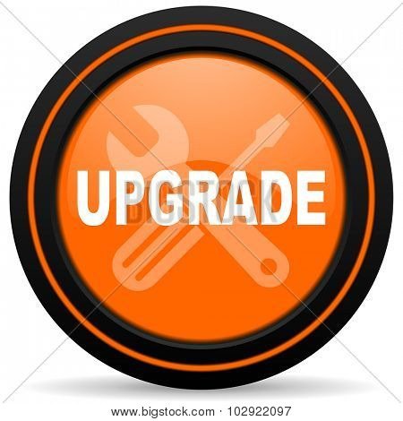 upgrade orange glossy web icon on white background