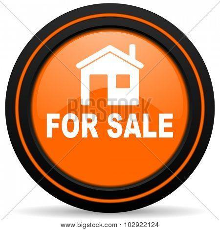 for sale orange glossy web icon on white background