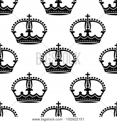 Seamless medieval crowns pattern background