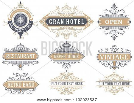 9 Labels and banners. Vector