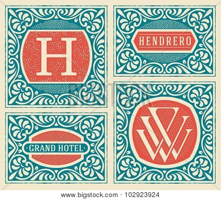 Retro cards set templates. Vector