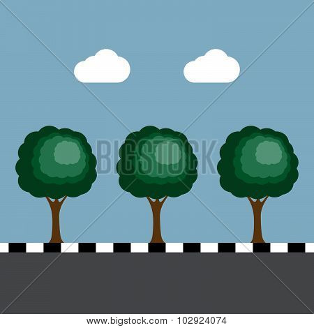 Trees At Footpath On The Road