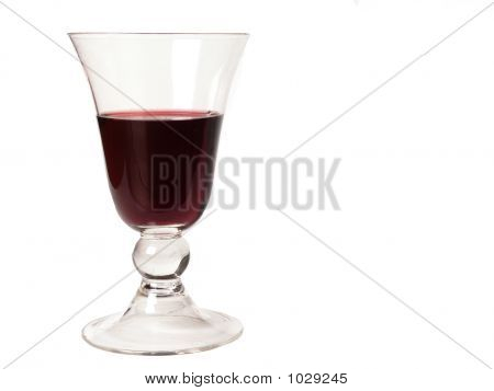 A Glass Of Italian Red Wine In An Isaloted White Background