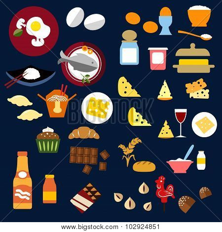 Food, fish, snacks and drinks flat icons