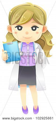 Highly Detail Illustration Cartoon Female Physician Doctor In White Coat Uniform With Stethoscope An