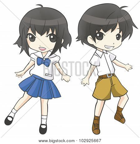 Cute Cartoon Asian Thai Student Couple Schoolgirl And Schoolboy In Government High School Uniform Sp