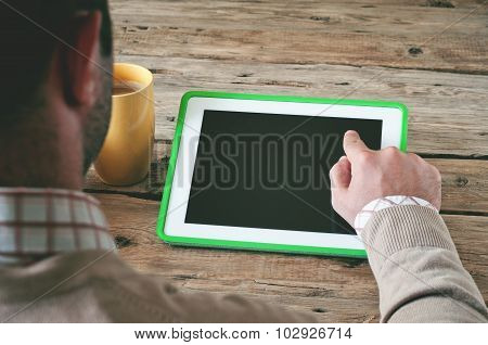 Man Working With A Tablet Computer