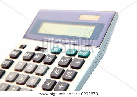 Perspective Of Tax Button On Gray Calculator