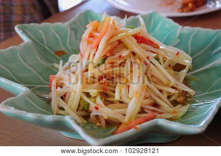 Green papaya salad of Thailand