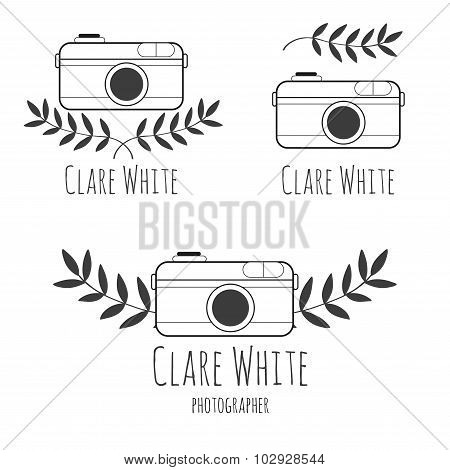 Hand drawn logo  for photographer with camera
