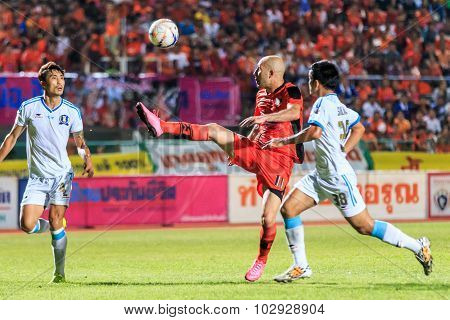 Sisaket Thailand-september 20: Mohsen Bayatinia Of Sisaket Fc. (orange) In Action During Thai Premie