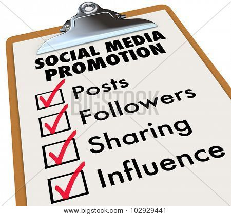 Social Media Promotion checklist on a clipboard with check marks and boxes for Posts, Followers, Sharing and Influence