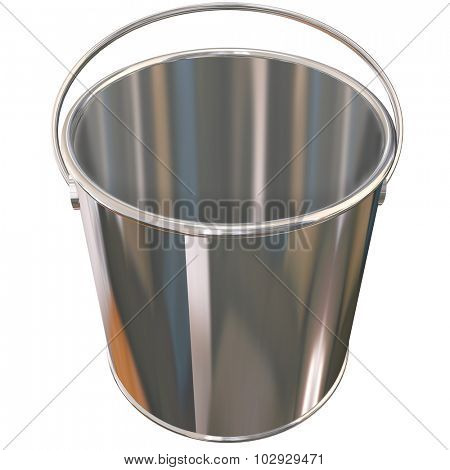 Shiny metal empty silver bucket or pail