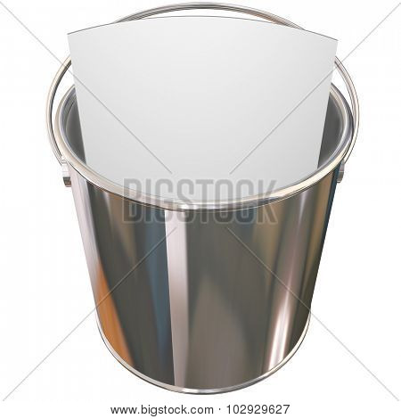 Metal, shiny pail to illustrate a bucket list for things you want to do before you die