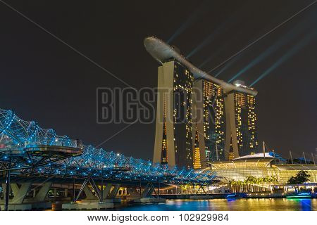 Marina bay,Singapore - Sep 9:Skyline Of Singapore on Sep 9, 2015 in Marina bay.