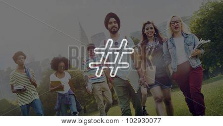 Hash tag Icon Social Media Blog Post Concept