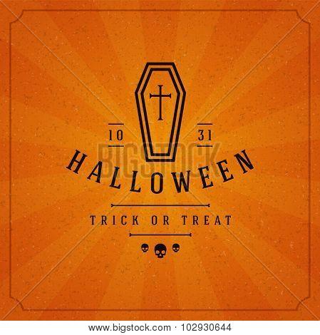 Vintage Happy Halloween Typographic Design Vector Background