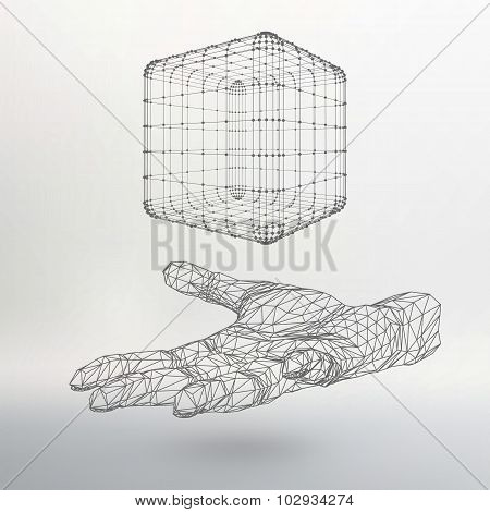 Cube of lines and dots on the arm. The hand holding a cube of the lines connected to points. The sha