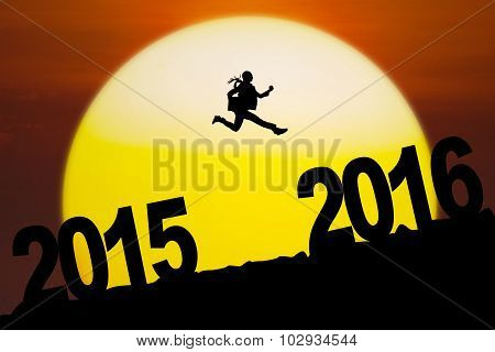 Businesswoman Jumping Toward 2016 Numbers