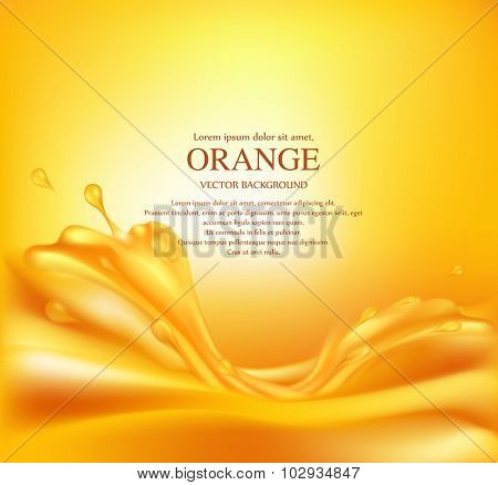 Vector juicy orange background with splashes of juice