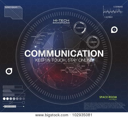 Communication concept in HUD style. The word