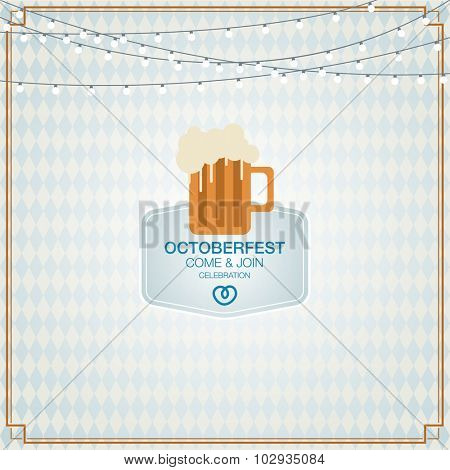 octoberfest background in flat style. Pretzels with beer
